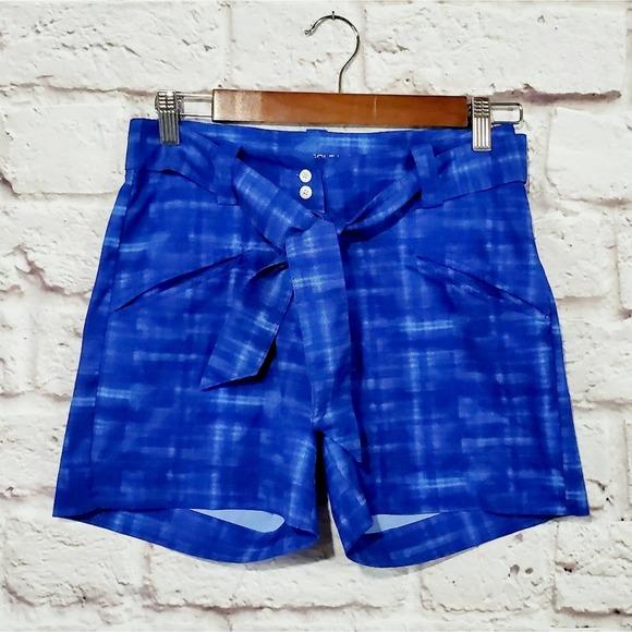 Nike Golf Blue Plaid Hi Rise Self Tie Shorts